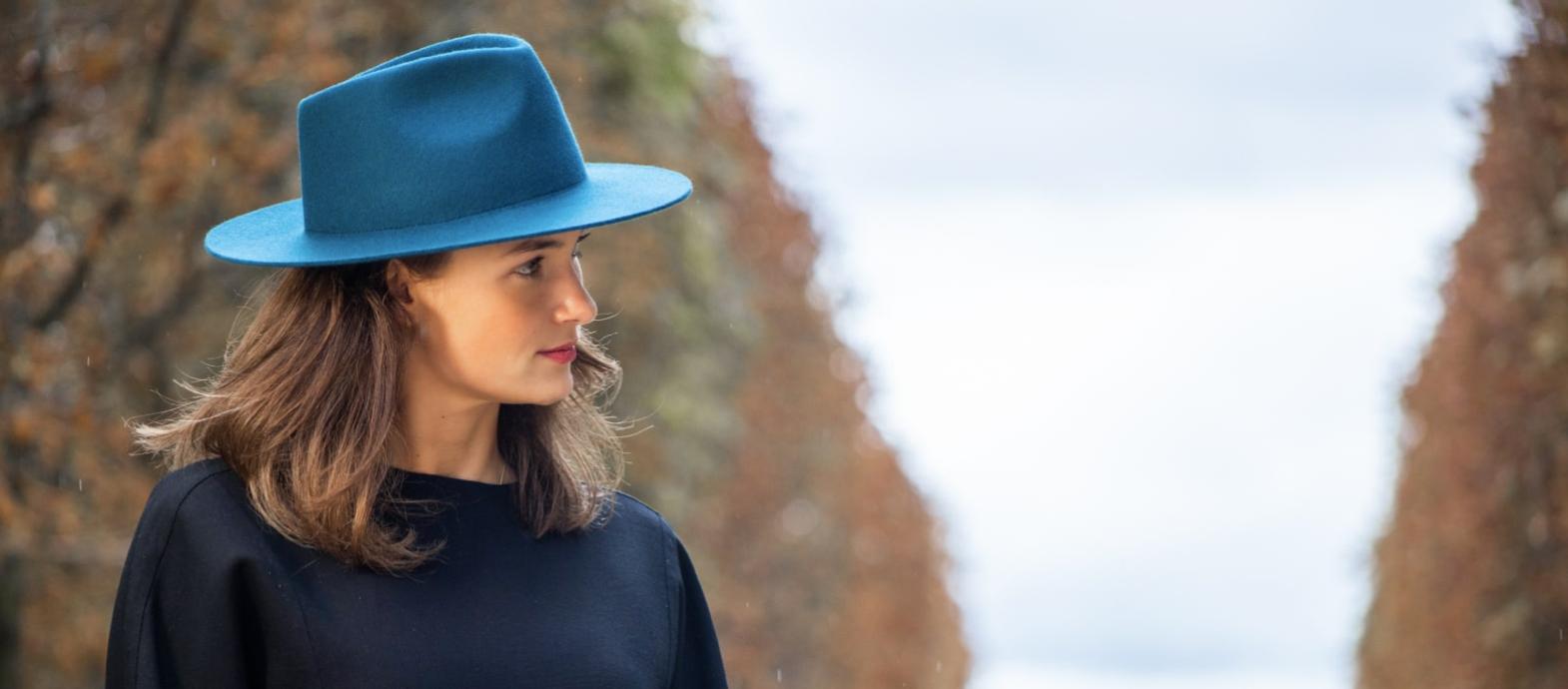 Bronte- Charley- fedora hoed in teal blauw