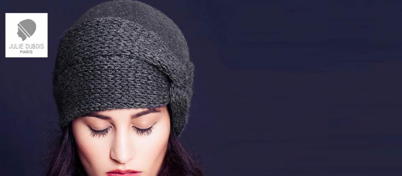 Julie Dubois- Gabrielle- grey felt beanie with knitted turban decoration